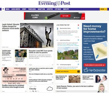 Th homepage of the YEP post-relaunch