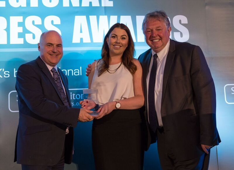 Sophie Doughty receives her Young Journalist of the Year award from HTFP publisher Paul Linford, left, and presenter Nick Ferrari
