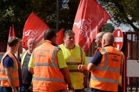 Birmingham binmen during last year's strike