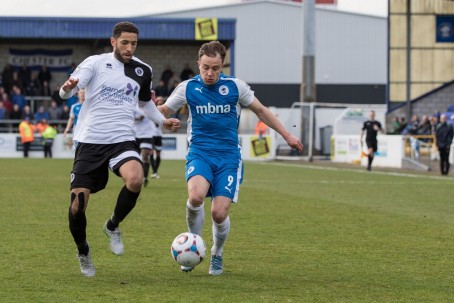 Boreham Wood (in white) playing against Chester in April this year
