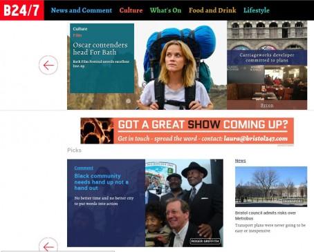 The new-look Bristol 24/7 website
