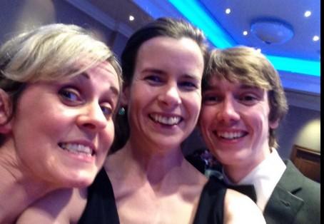 Multi-award winner Ciaran Jones, right, celebrates with Media Wales colleagues Sandra Loy and Catrin Pascoe.