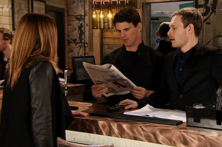 Nick Tilsley, right, shows off the review to fellow Coronation Street characters