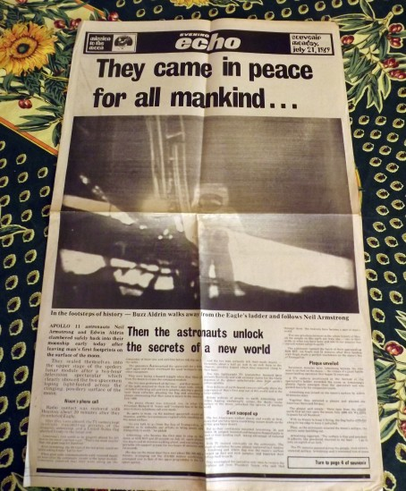 The 1969 edition of the Hemel Hempstead Echo covering the Moon landings.