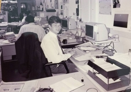 Jeremy Craddock as a young trainee at the Westmorland Gazette in the early 1980s