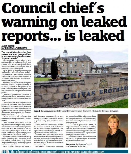 How the Express covered the warning about leaking