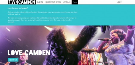 The homepage of the councl's Love Camden entertainments listing site