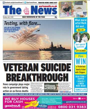 Portsmouth daily The News splashed on the campaign's breakthrough yesterday
