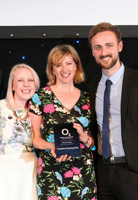 Nicola, centre, pictured at the O2 ceremony with YP/YEP head of news Laura Bowyer, left, and Jonathan Brown who led the Be A Hero organ donation campaign.
