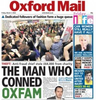Today's splash from the Oxford Mail following McKenzie-Green's gauilty plea