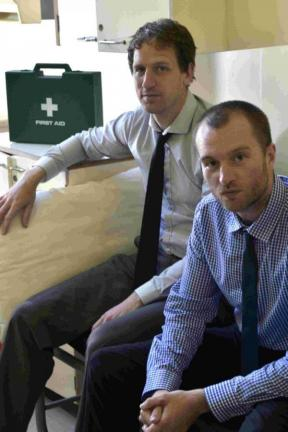 Journalists Arron Hendy and Ruari Barratt who were hospitalised after eating the hottest burger in the country