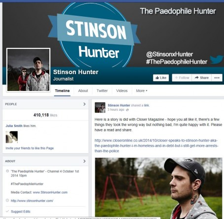 Stinson Hunter's Facebook page on which he describes himself as a journalist.