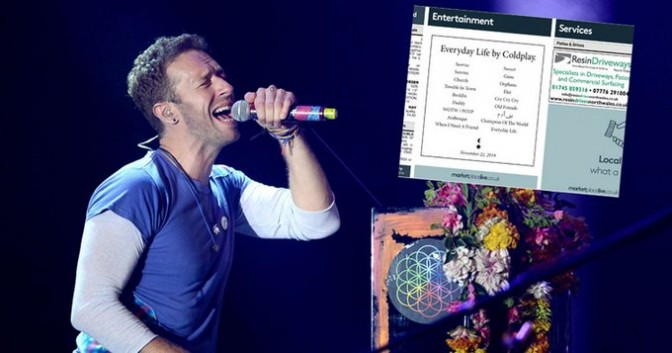 Coldplay singer Chris Martin on stage and the small ad, inset.